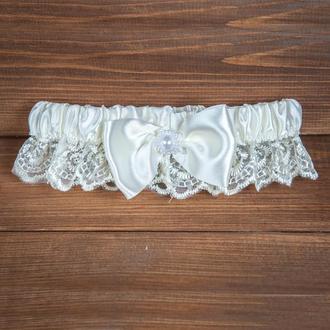Свадебная подвязка бежевая (арт. G-102)