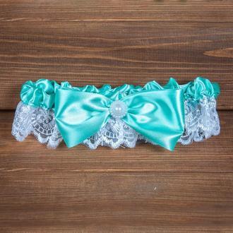 Свадебная подвязка с мятным бантом (арт. G-104)