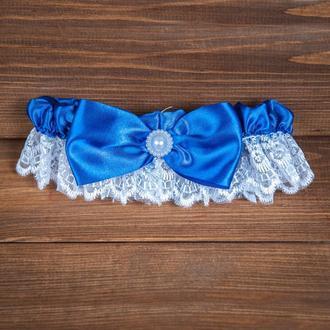 Свадебная подвязка с синим бантом (арт. G-106)
