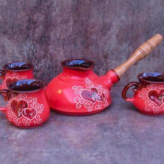 Набір кавовий Ґута на 3 особи декор Серце червоний