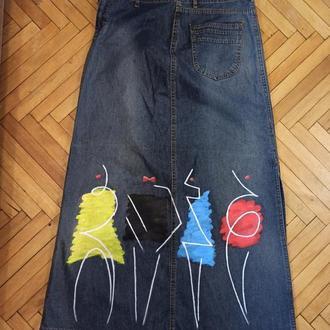 Джинсовая юбка с росписью