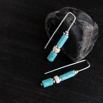 Серьги длинные бирюзовые с камнями. Серебряные серьги подарок Повседневные серьги