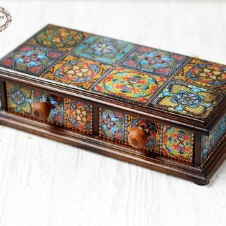 Шкатулка для украшений в стиле мозаичной плитки Талавера , 2 ящичка