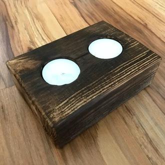 Подсвечник Декоративный GWL деревянный на две свечи