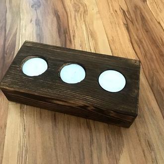 Подсвечник Декоративный GWL деревянный на три свечи