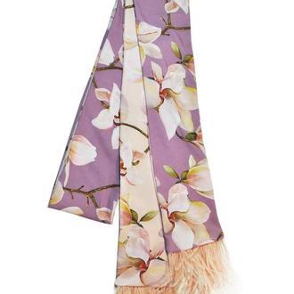 Твилли, шарфик-галстук, шарф-лента с перьями страуса от My Scarf