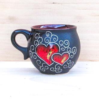 Чашку шарик 180 мл декор Сердце черное
