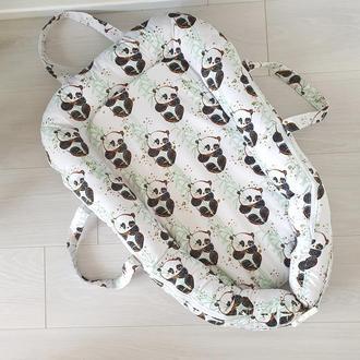 Сьемный чехол! Твердый матрасик! Гнездышко кокон Pandas