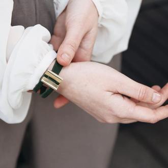 Кожаный браслет LUY N.5 один оборот (зеленый)