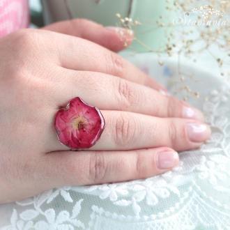 Каблучка з малиновою трояндою • Безразмерное Кольцо с красно - малиновой розой • подарок сестре