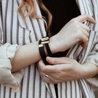 Кожаный браслет LUY N.5 два оборота (черный)