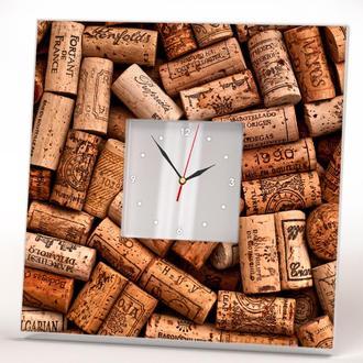 """Оригинальные часы настенные с декором """"Винные пробки"""""""
