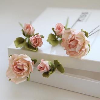 Цветы в прическу. Шпильки с  розовыми цветами. Заколка с цветами.