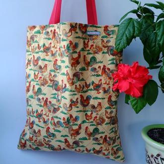 Эко сумка для покупок с петухами, сумка пакет, эко торба, сумка шоппер 52