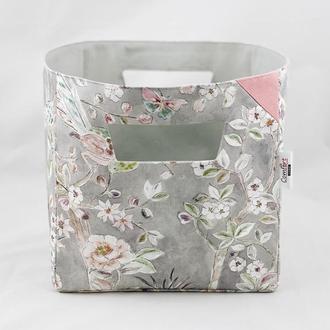 Интерьерная корзина с цветами и птицами. Корзина для игрушек. Корзина для хранения.