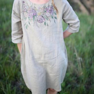 Льняное женское платье А-силуэта с возможностью ручной росписью