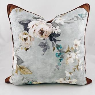 Диванная подушка с цветами. Подушка на замке. Декоративная подушка.