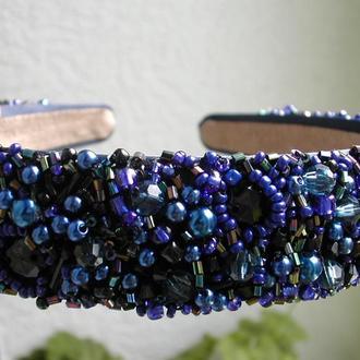 Широкий синий обруч для волос 3 см