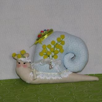 Улитка тильда Мимоза - игрушка ручной работы