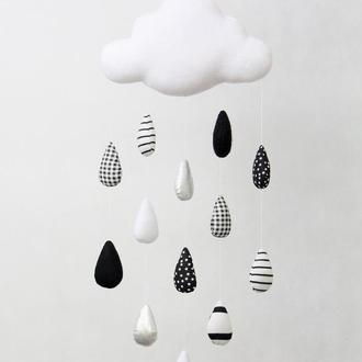 Тучка дождевая с черно-белыми каплями, мобиль для новорожденных