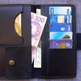 Кошелек кошелек портмоне из винтажной кожи crazy horse темно-синяя