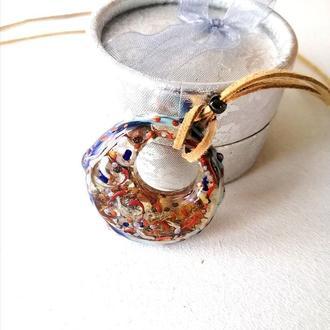 Кулон-пектораль, талисман-круговорот, кулон с натуральными камнями