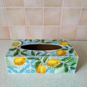 салфетница для сменных блоков на кухню,в технике декупаж.