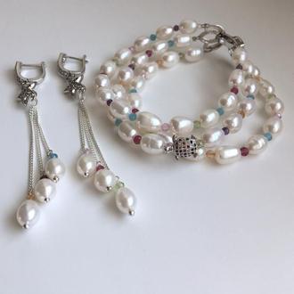 Комплект: браслет і сережки з перлів і кольорових самоцвітів