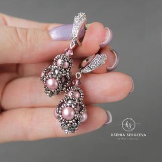 Серьги с кристаллами жемчугом Сваровски