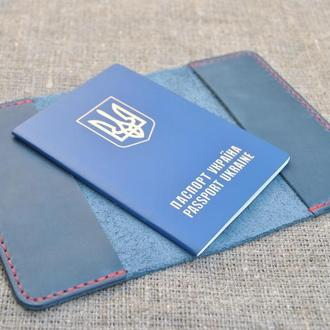 Обложка для паспорта из натуральной кожи ручной работы  P01-660+red