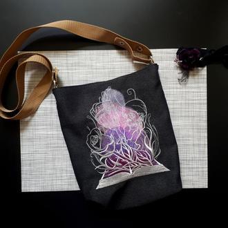 "Тканинна чорна сумка в готичному стилі ""Череп і троянда"""