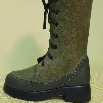 Ботинки  валяные  на шнуровке