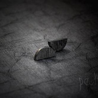 Сережки Місяць - деревянные серьги - черные