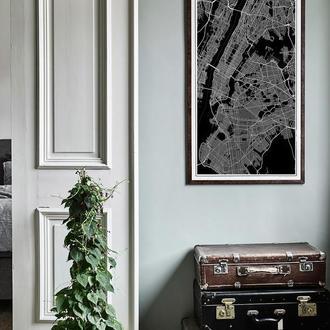 Графический постер карта Нью Йорка