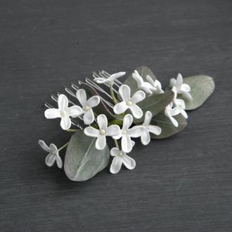 Гребень для волос с цветами белой сирени / Гребень с маленькими цветами