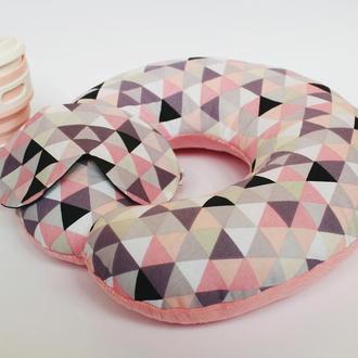 Подушка для путешествий - геометрия киев, дорожная подушка розовая львов, подушка для шеи
