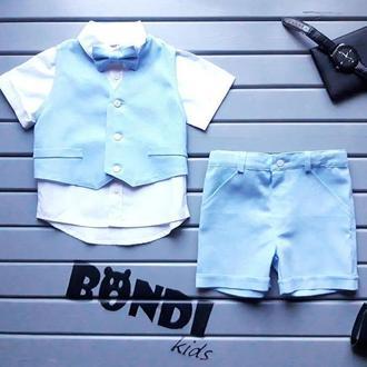 Нарядний костюм для хлопчика, блакитний, льон