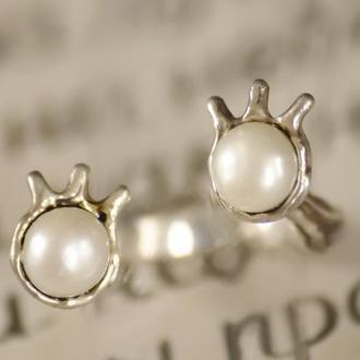 Серебрянное кольцо с белыми жемчужинами, кольцо с регулируемым размером