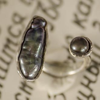 серебрянное кольцо с черными жемчужинами, кольцо разъёмное
