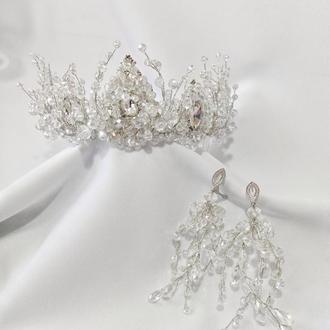 Свадебный комплект украшений, диадема и серьги хрустальные