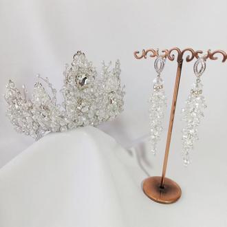 Свадебный комплект украшений, диадема и серьги-гроздья хрустальные