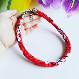 Жгут-колье красное ожерелье  из бисера Подарок женщине Бисерное колье