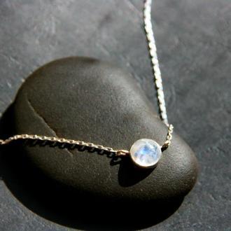 Серебряный кулон с лунным камнем, подвеска с лунным камнем, колье с лунным камнем