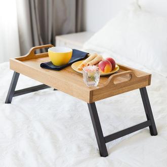 Поднос-столик из дуба. Столик для завтрака в постель.