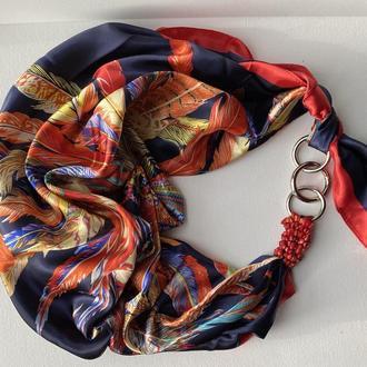 """""""Рубиновый блеск"""" атласный шарф, шелковый шарф, атласный платок, шарф-ожерелье, шарф-чокер"""