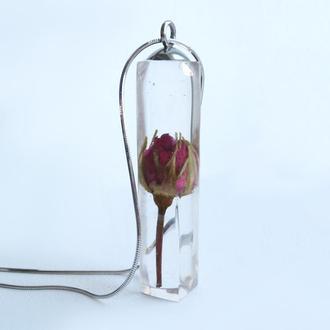 Серебряный кулон Роза в стекле
