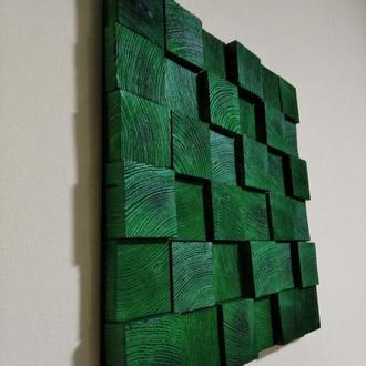 Панно из натурального дерева в изумрудно-зеленом цвете