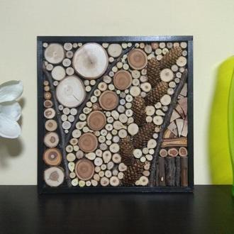Панно из дерева, эко стиль, дизайн, ручная работа