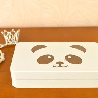 Детская шкатулка купюрница для денег украшений с пандой белая коробочка шкатулочка для девочки