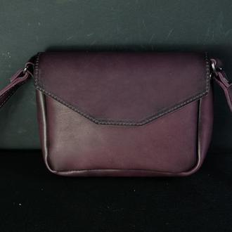 Кожаная сумка, сумочка Лилу, кожа итальянский краст, цвет Бордо